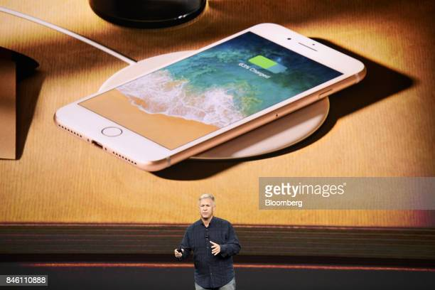 Phil Schiller senior vice president of worldwide marketing at Apple Inc speaks about the iPhone 8 and 8 Plus during an event at the Steve Jobs...