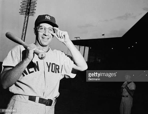 Phil Scooter Rizzuto NY Yankee crack shortstop is shown adjusting his glasses for the first time in his career He's had trouble with his left eye 'I...