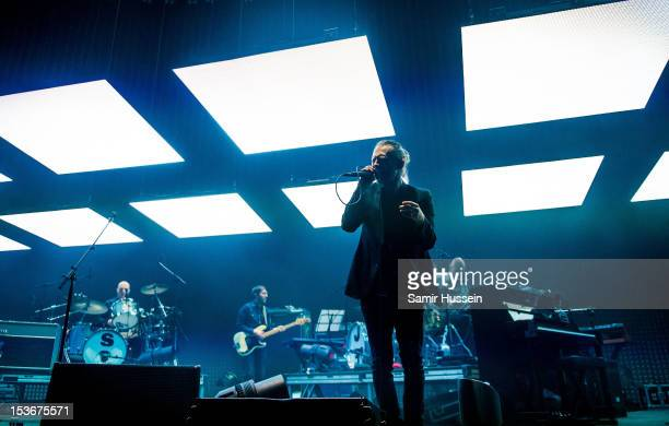 Phil Selway Colin Greenwood and Thom Yorke of Radiohead perform at the 02 Arena on October 8 2012 in London England