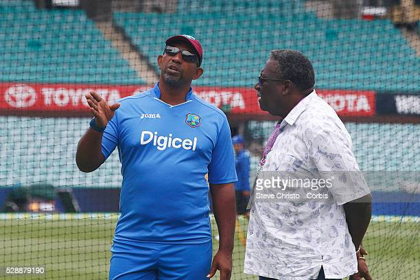 Phil Simmons and Clive Lloyd stroll on the Sydney Cricket Ground before training Sydney Australia Saturday January 2nd 2016