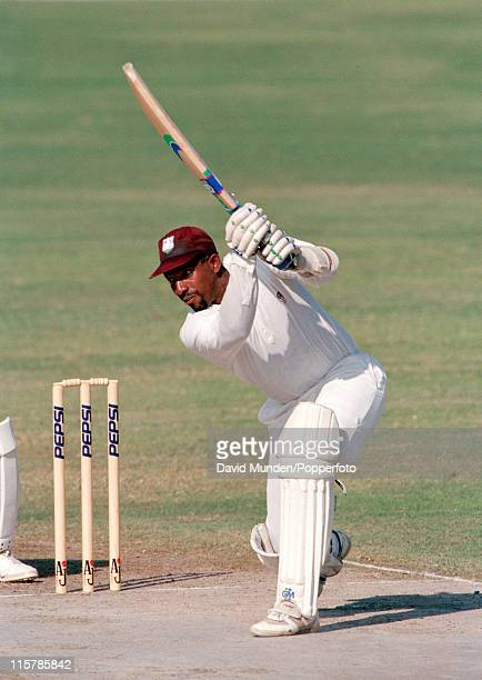 Phil Simmons batting for the West Indies in Sharjah circa 1993