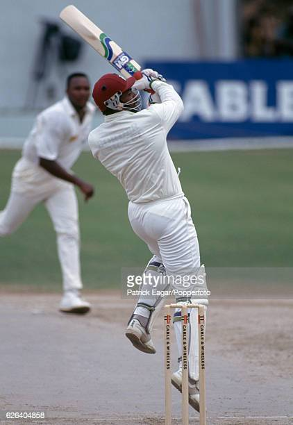 Phil Simmons batting for West Indies during the 1st Test match between West Indies and England at Sabina Park Kingston Jamaica 20th February 1994 The...