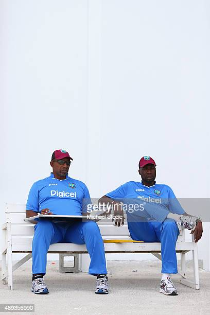 Phil Simmons the head coach alongside Sir Curtly Ambrose the bowling coach of West Indies during the West Indies nets session at the Sir Vivian...