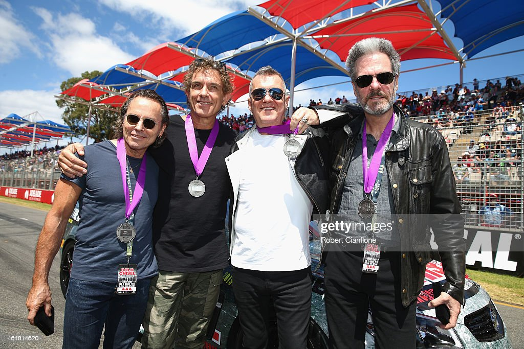 Phil Small Ian Moss Jimmy Barnes and Don Walker of Cold Chisel pose for the media as the band is inducted into the AMC South Australian Music Hall of...