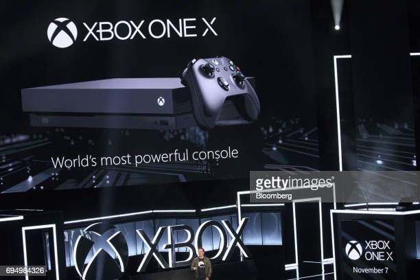 Phil Spencer executive vice president of Xbox Business for Microsoft Corp speaks during the company's Xbox One X reveal event ahead of the E3...