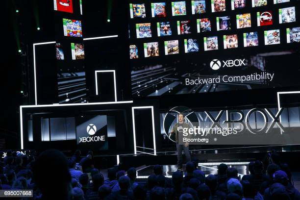 Phil Spencer executive vice president of Xbox Business for Microsoft Corp speaks about Xbox backwards compatibility during the company's Xbox One X...