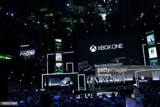 Phil Spencer executive vice president of Xbox Business for Microsoft Corp speaks about Xbox One X Enhanced games during the company's Xbox One X...