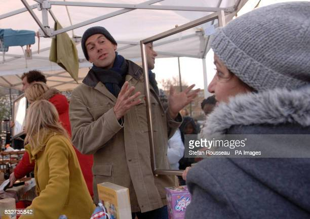 Phil Spencer takes part in a car boot sale for the charity Comic Relief in Battersea London