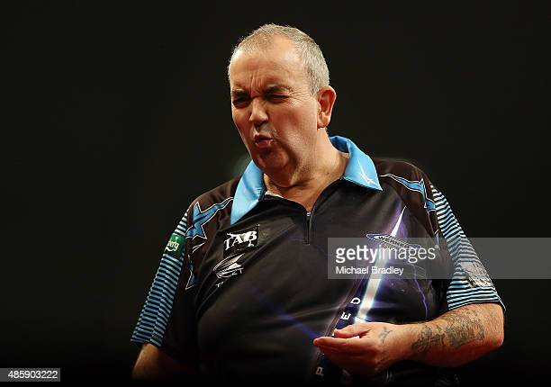 Phil Taylor in action during the Auckland Darts Masters at The Trusts Arena on August 30 2015 in Auckland New Zealand