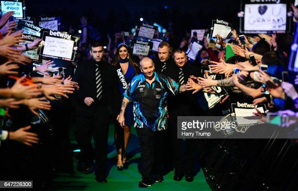 Phil Taylor makes his way to the board during Night Five of the Betway Premier League Darts at Westpoint Arena on March 2 2017 in Exeter England