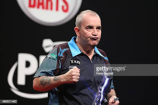 Phil Taylor of England during the Auckland Darts Masters at The Trusts Arena on August 28 2015 in Auckland New Zealand