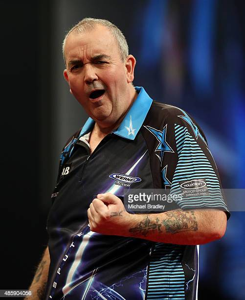 Phil Taylor reacts during during the Auckland Darts Masters at The Trusts Arena on August 30 2015 in Auckland New Zealand