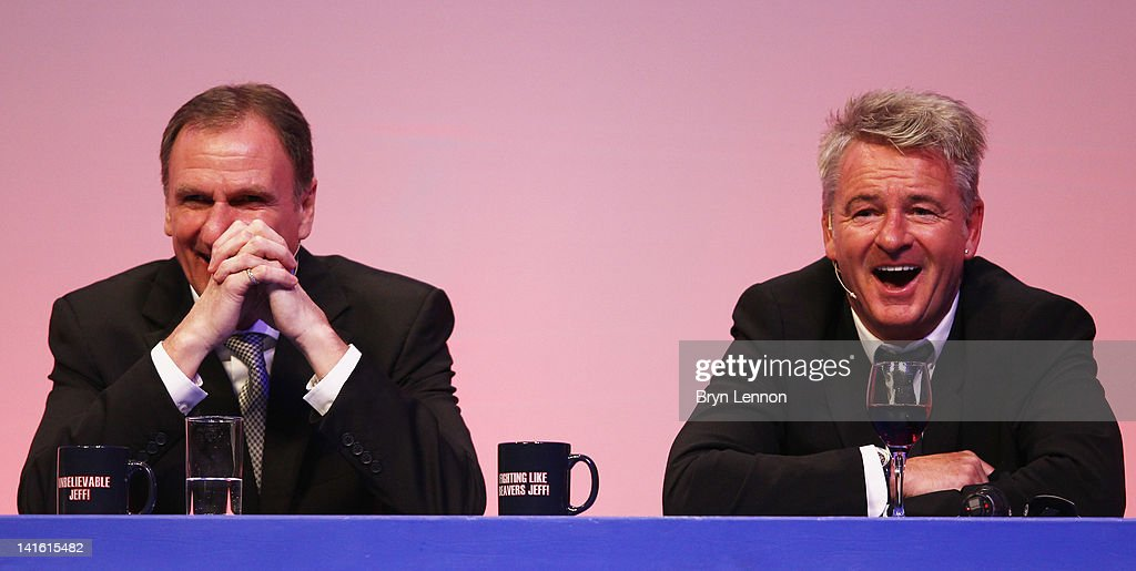 <a gi-track='captionPersonalityLinkClicked' href=/galleries/search?phrase=Phil+Thompson&family=editorial&specificpeople=221560 ng-click='$event.stopPropagation()'>Phil Thompson</a> (L) and Charlie Nicholas answer questions during Gillette Soccer Saturday Live with Jeff Stelling on March 19, 2012 at the Bournemouth International Centre in Bournemouth, England.