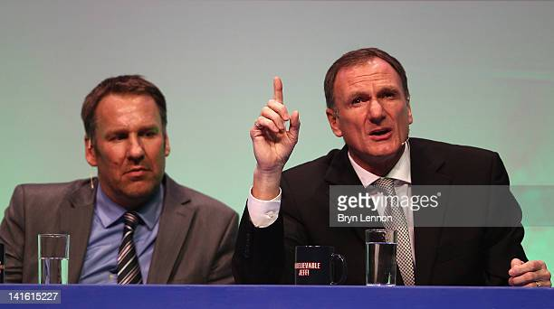 Phil Thompson and Paul Merson answer questions during Gillette Soccer Saturday Live with Jeff Stelling on March 19 2012 at the Bournemouth...