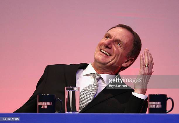 Phil Thompson answers questions during Gillette Soccer Saturday Live with Jeff Stelling on March 19 2012 at the Bournemouth International Centre in...