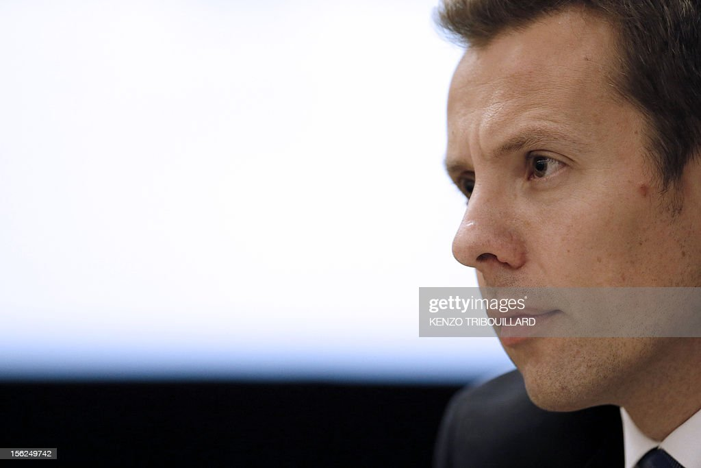Phil Thompson, Senior Vice President of global communications at British multinational pharmaceutical, biologics, vaccines and consumer healthcare company GlaxoSmithKline takes part in an anti-doping conference on November 12, 2012 in Paris.