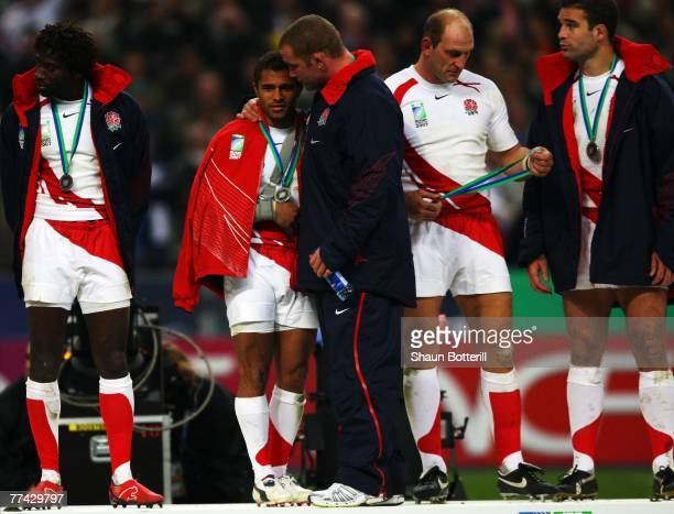 Phil Vickery of England consoles Jason Robinson of England at the end of the 2007 Rugby World Cup Final between England and South Africa at the Stade...