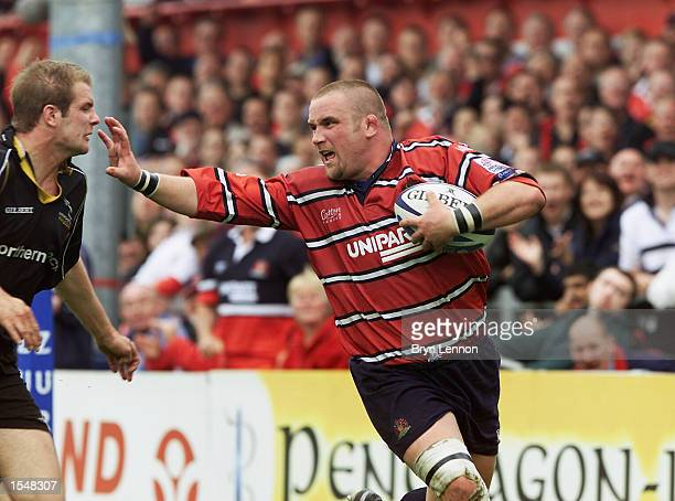 Phil Vickery of Gloucester fends off Gareth Maclure of Newcastle during the Zurich Championship playoff match between Gloucester and Newcastle...