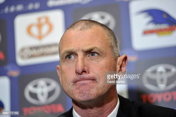 Phil Walsh speaks to the media during an Adelaide Crows AFL press conference announcing him as head coach at AAMI Stadium on October 7 2014 in...