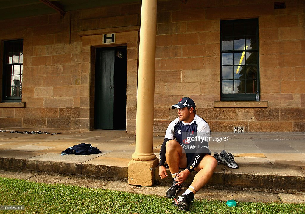 Phil Waugh of the Waratahs warms up during a Waratahs Super Rugby training session at Victoria Barracks on March 1, 2011 in Sydney, Australia.