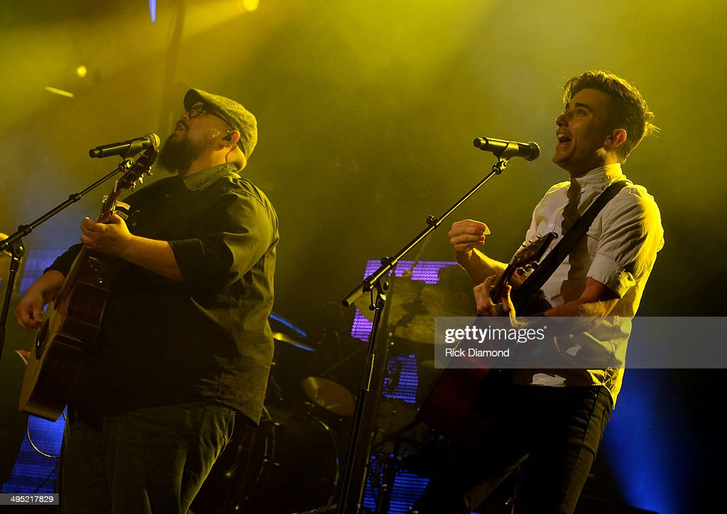 Phil Wickham and Mike Weaver of Big Daddy Weave perform at the 2nd Annual KLOVE Fan Awards at the Grand Ole Opry House on June 1 2014 in Nashville...