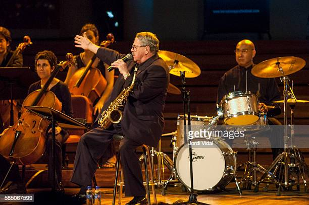 Phil Woods and Dough Sides of Phil Woods Quartet perform on stage Bird with Stringsand more during Barcelona International Jazz Festival at Palau de...