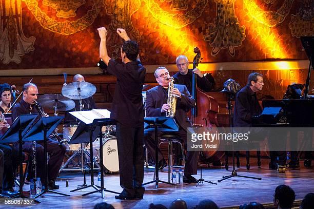 Phil Woods Jesper Lundgaard and Ben Aronov of Phil Woods Quartet perform on stage Bird with Stringsand more during Barcelona International Jazz...