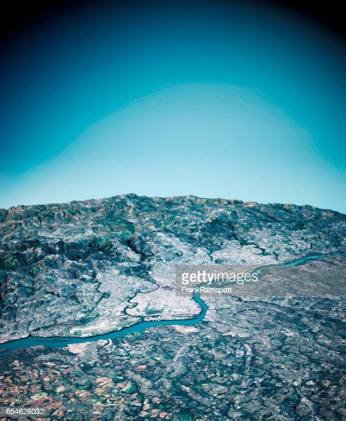Philadelphia 3D Render Satellite View Topographic Map Vertical
