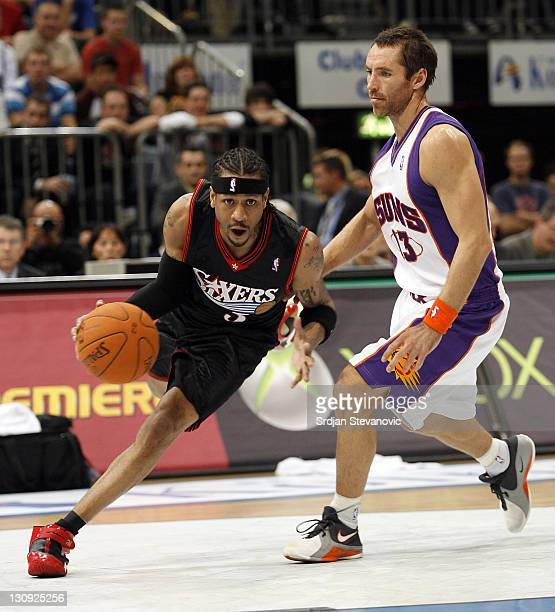 Philadelphia 76ers Allen Iverson right plays the ball against Steve Nash left of Phoenix Suns during a NBA Live Tour friendly basketball match...