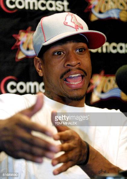 Philadelphia 76ers Allen Iverson speaks during a press conference 07 May 2002 at the First Union Center in Philadelphia PA where he blasted the media...