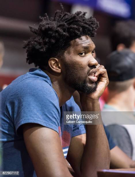 Philadelphia 76ers center Joel Embiid attends the 2017 Mylan World TeamTennis New York Empire vs Philadelphia Freedoms match at Michael J Hagan Arena...