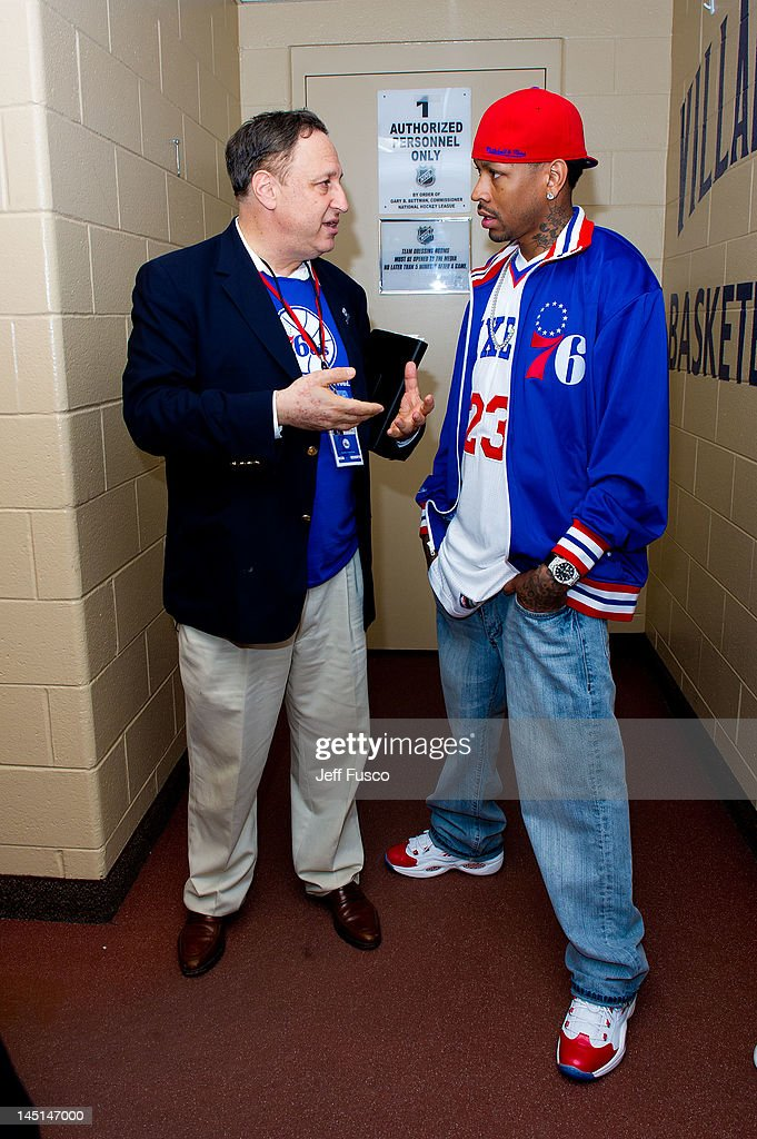 Philadelphia 76ers CEO Adam Aron (L) and <a gi-track='captionPersonalityLinkClicked' href=/galleries/search?phrase=Allen+Iverson+-+Basketball+Player&family=editorial&specificpeople=201479 ng-click='$event.stopPropagation()'>Allen Iverson</a> (R) speak at the Wells Fargo Center on May 23, 2012 in Philadelphia, Pennsylvania. Iverson's original Reebok Question re-launches Friday, May 25th for the first time since 1996.