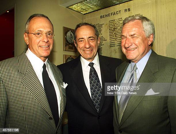 Philadelphia 76ers coach Larry Brown former governor Mario Cuomo and coaching great Dean Smith at the announcement of the Frank McGuire Awards at the...