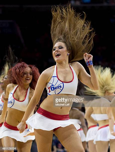 Philadelphia 76ers dance team performs during a timeout in the game against the Cleveland Cavaliers on January 5 2015 at the Wells Fargo Center in...