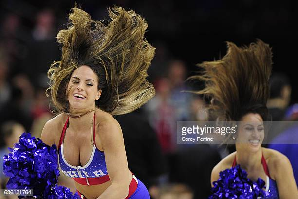 Philadelphia 76ers dancers perform during a timeout as they face the Brooklyn Nets during the second quarter at the Wells Fargo Center on December 18...