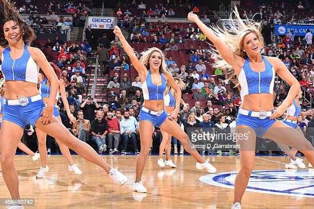 Philadelphia 76ers dancers perform during the game on November 5 2014 at Wells Fargo Center in Philadelphia Pennsylvania NOTE TO USER User expressly...