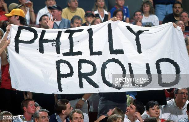Philadelphia 76ers fans display signs supporting their team during Game Five of the 2001 NBA Finals against the Los Angeles Lakers on June 15 2001 at...