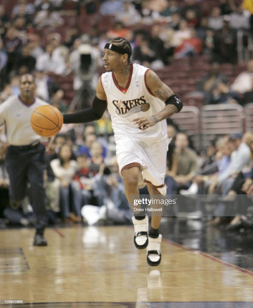 Philadelphia 76ers guard <a gi-track='captionPersonalityLinkClicked' href=/galleries/search?phrase=Allen+Iverson+-+Basketball+Player&family=editorial&specificpeople=201479 ng-click='$event.stopPropagation()'>Allen Iverson</a> Wednesday, Nov. 9, 2005 in Philadelphia, PA. The Philadelphia 76ers defeated the Dallas Mavericks 112-97.