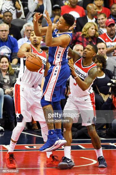 Philadelphia 76ers guard Markelle Fultz has the ball stripped away by Washington Wizards forward Otto Porter Jr in action on October 18 2017 at the...