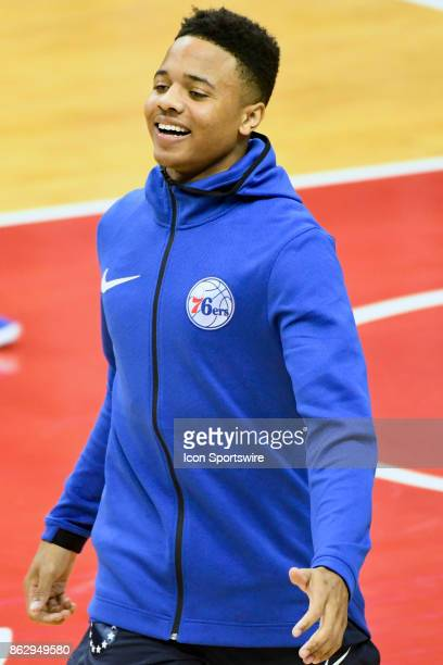 Philadelphia 76ers guard Markelle Fultz warms up on October 18 2017 at the Capital One Arena in Washington DC The Washington Wizards defeated the...