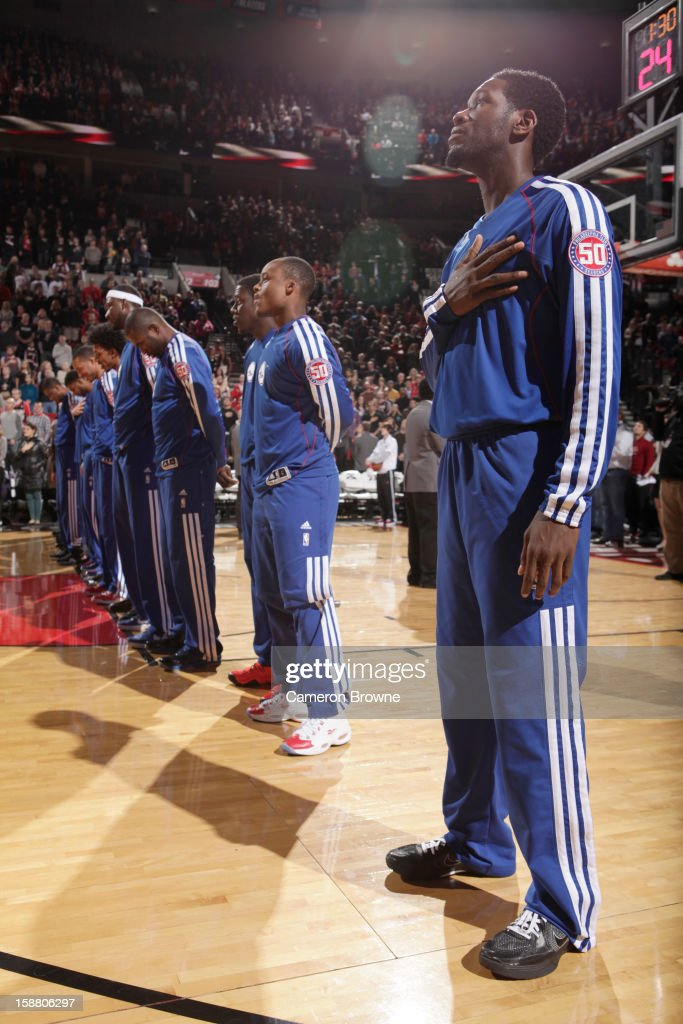Philadelphia 76ers line up during the game between the Philadelphia 76ers and the Portland Trail Blazers on December 29, 2012 at the Rose Garden Arena in Portland, Oregon.