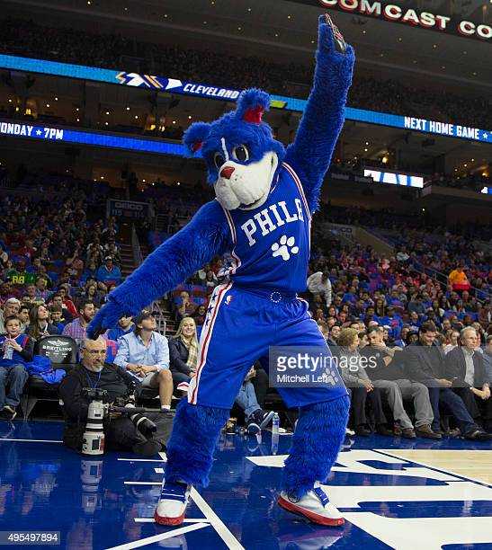 Philadelphia 76ers mascot Franklin dances during a timeout in the game against the Utah Jazz on October 30 2015 at the Wells Fargo Center in...