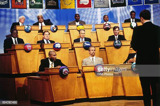 Philadelphia 76ers President Pat Croce looks on at the draft lottery on May 19 1996 in Secaucus New Jersey NOTE TO USER User expressly acknowledges...