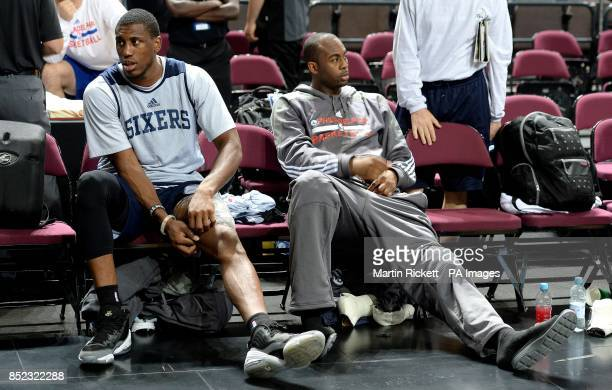 Philadelphia 76ers Thaddeus Young sits with a ice pack on his thigh during the practice session at the Phones4 u Arena Manchester