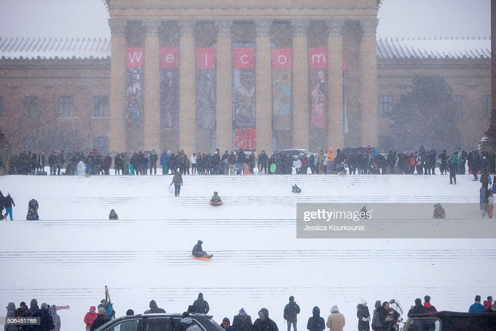 Philadelphia Art Museum steps are crowded with sledders as snow continues to fall on January 23 2016 in Philadelphia Pennsylvania The city which...