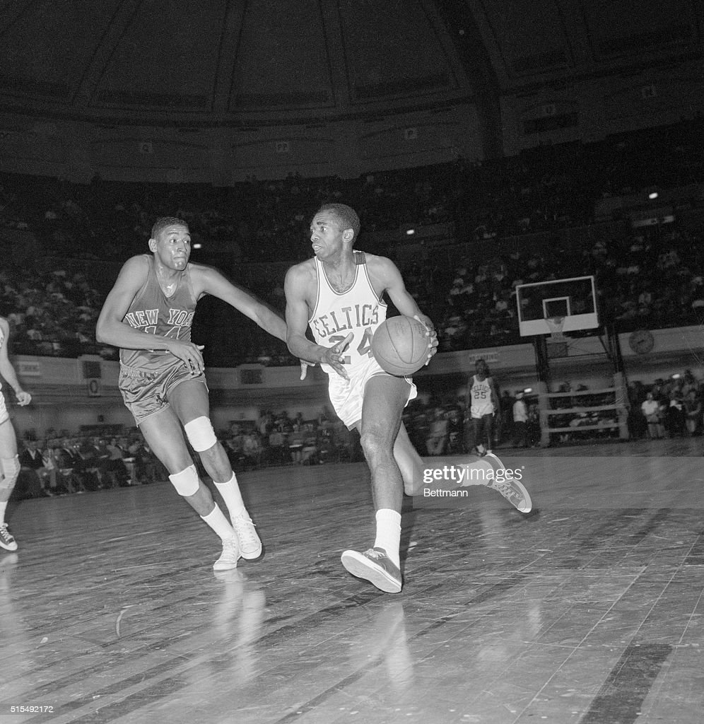 Sam Jones Dribbling Past Bob Boozer