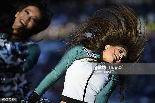 Philadelphia Eagles cheerleader performs during the fourth quarter against the Dallas Cowboys at Lincoln Financial Field on January 1 2017 in...