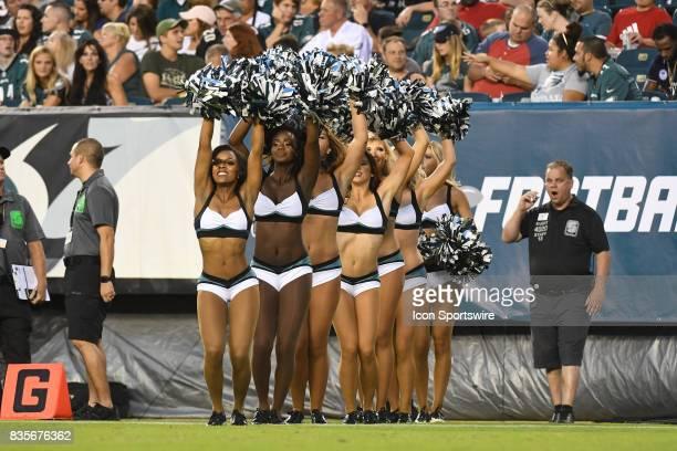 Philadelphia Eagles cheerleaders perform during a Preseason National Football game between the Buffalo Bills and the Philadelphia Eagles on August 17...