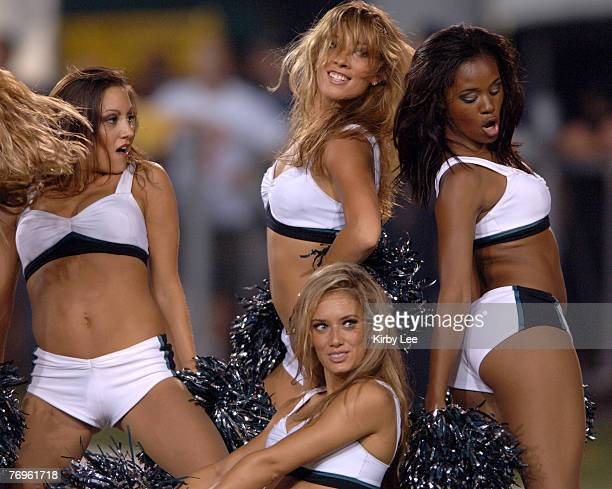 Philadelphia Eagles cheerleaders perform during NFL Pro Football Hall of Fame game against the Oakland Raiders at Fawcett Stadium in Canton Ohio on...