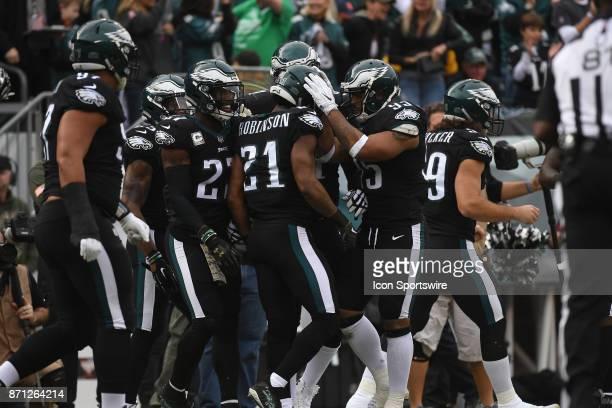 Philadelphia Eagles cornerback Patrick Robinson celebrates his interception during a NFL football game between the Denver Broncos and the...